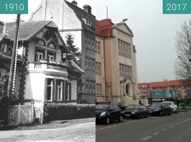 Before-and-after picture of School No. 2 in Gryfice between 1910 and 2017-Nov-30