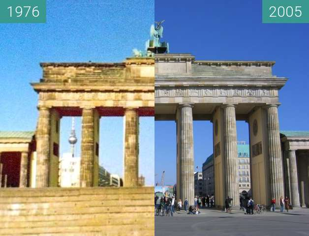 Before-and-after picture of Brandenburger Tor between 06/1976 and 2005-Mar-28
