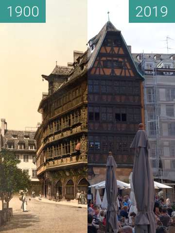Before-and-after picture of House Kammerzell between 1900 and 2019-Aug-08