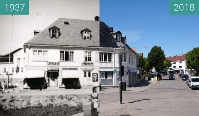 "Before-and-after picture of ""Fusdahlgården"" in Asker, Norway between 1937 and 2018-Aug-05"