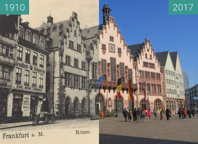Before-and-after picture of Römerberg between 1910 and 2017-Apr-20