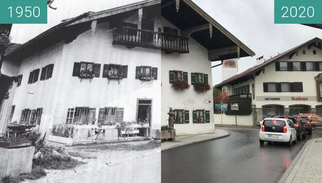Before-and-after picture of Bauernschmiedanwesen, Siegsdorf between 1950 and 2020-Oct-11