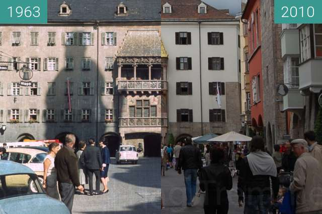 Before-and-after picture of Goldenes Dachl between 1963-Sep-19 and 2010-Aug-28