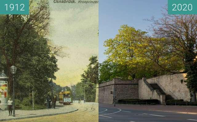 Before-and-after picture of Kronprinzwall between 01/1912 and 03/2020