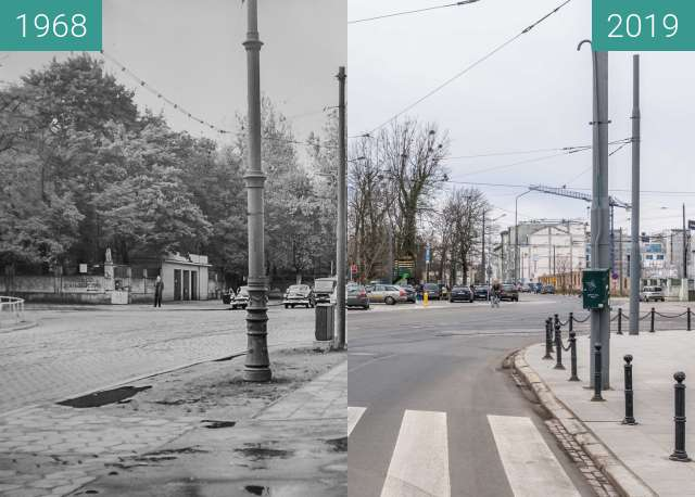Before-and-after picture of Ulica Zwierzyniecka, Stare Zoo between 1968 and 2019-Mar-07