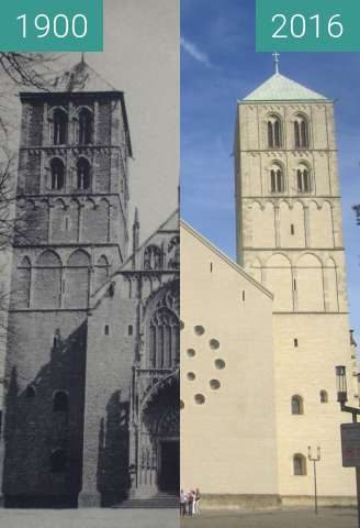 Before-and-after picture of St.-Paulus-Dom between 1900 and 2016-Sep-02