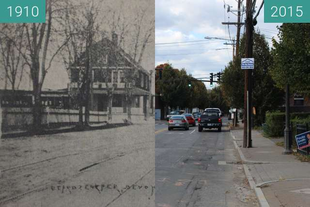 Before-and-after picture of Devon, Milford, Conn. between 1910 and 2015