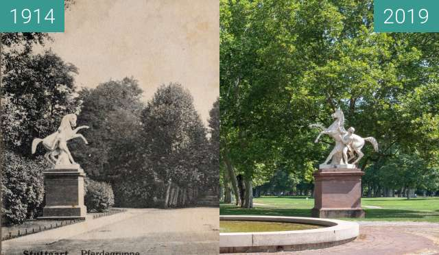 Before-and-after picture of Stuttgart - Rossebändiger between 1914 and 2019-Aug-04