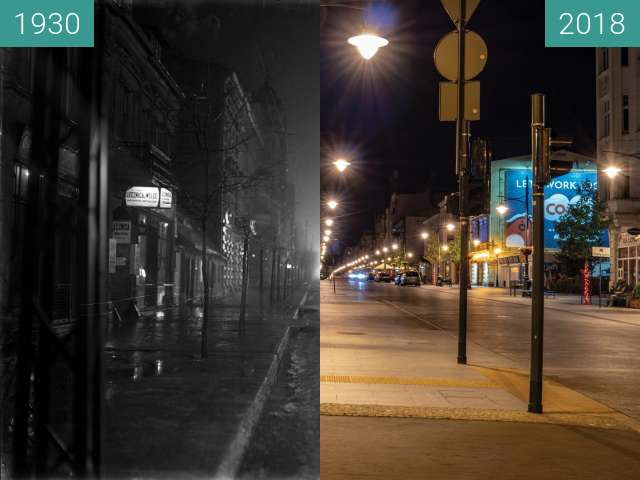 Before-and-after picture of Piotrkowska street in Lodz, Poland between 1930 and 06/2018