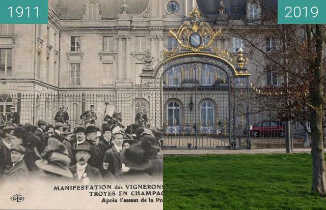 Before-and-after picture of Champagne Riots between 1911-Apr-09 and 2019-Mar-23