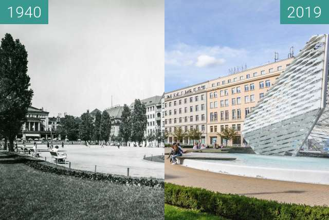 Before-and-after picture of Plac Wolności between 1940 and 2019