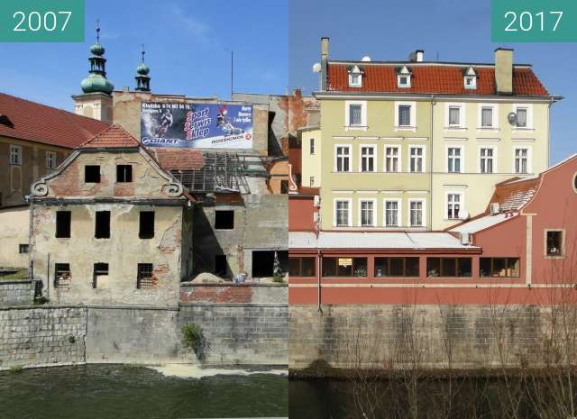 Before-and-after picture of Rebuilding of some facades in Klodzko after fload between 2007 and 2017