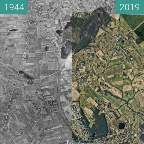 Before-and-after picture of Poznań, obszar północny between 1944-Dec-17 and 2019