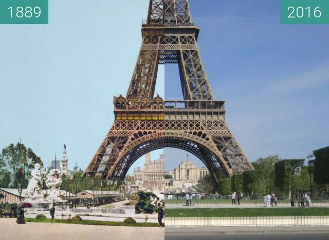 Before-and-after picture of Tour Eiffel between 1889 and 2016-May-08