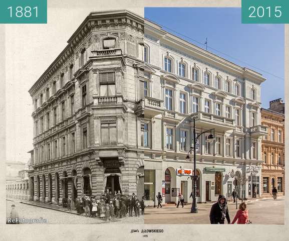 Before-and-after picture of Działowski's House between 1881 and 2015