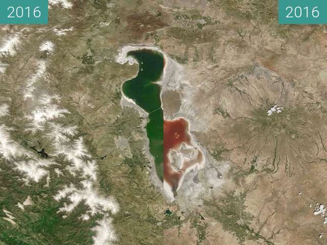Before-and-after picture of Changing colors of Iran's Lake Urmia between 2016-Apr-23 and 2016-Jul-18