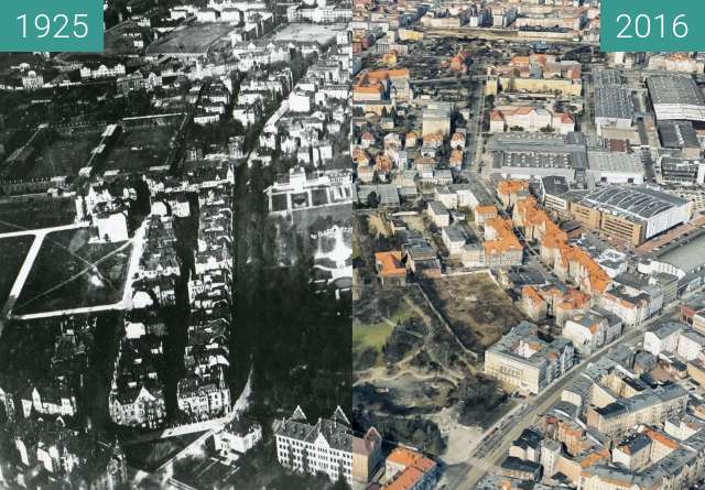 Before-and-after picture of Łazarz i okolice between 1925-Jul-03 and 2016-Jul-03