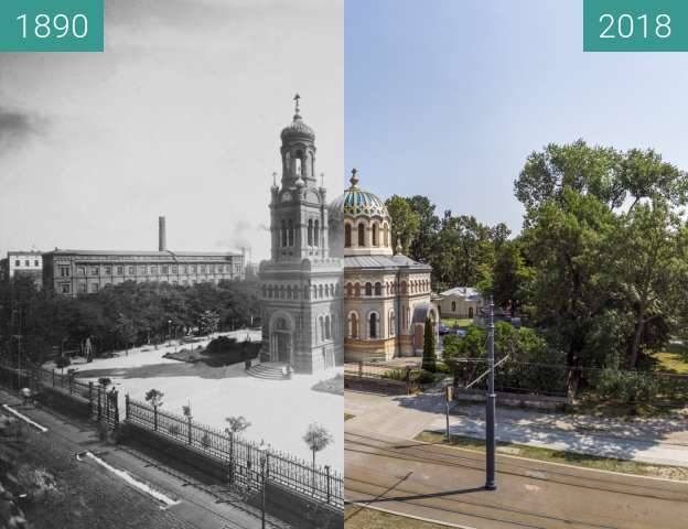 Before-and-after picture of Alexander Nevsky Orthodox Cathedral in Lodz between 1890 and 2018-Jul-06
