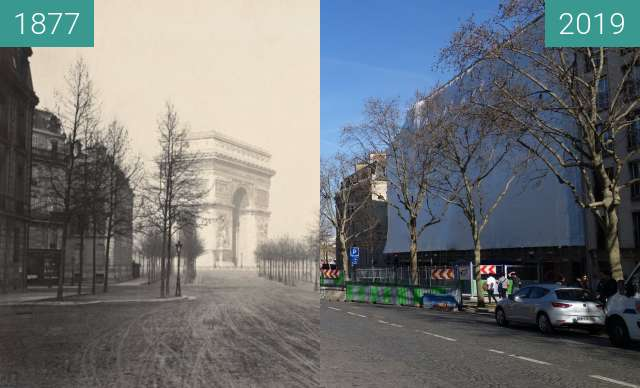 Before-and-after picture of Avenue d'Iéna between 1877 and 2019-Feb-17