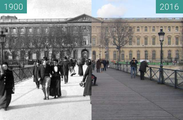 Before-and-after picture of Pont des Arts between 1900 and 2016-Jan-12