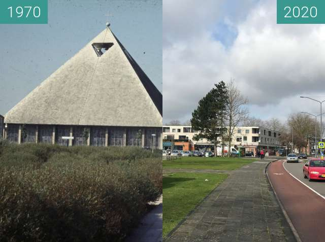 Before-and-after picture of Don Bosco Church ca. 1970 - 2020 between 1970 and 2020