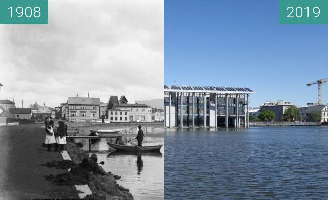 Before-and-after picture of Lake Tjörnin between 1908 and 2019-May-28
