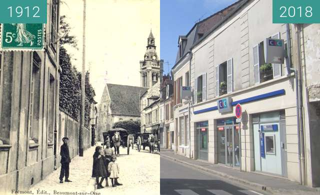 Before-and-after picture of Viarmes: Rue de Paris between 1912 and 2018-May-27