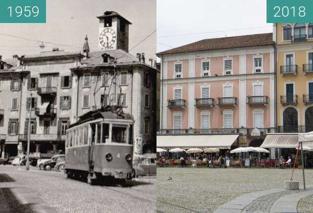Before-and-after picture of Piazza Grande Locarno between 1959-Jun-15 and 2018-May-26