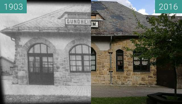 Before-and-after picture of Old train station in Gundheim between 1903 and 2016-Oct-10