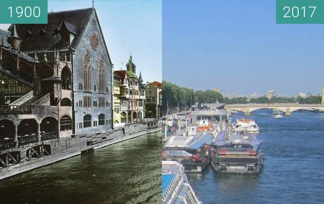 Before-and-after picture of View on Seine from Pont de l'Alma between 1900 and 2017-Jun-18