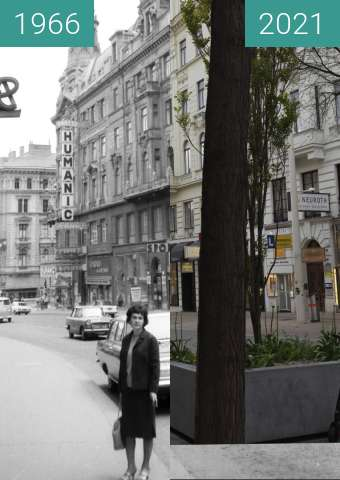 Before-and-after picture of Mariahilferstraße between 1966 and 2021-May-02