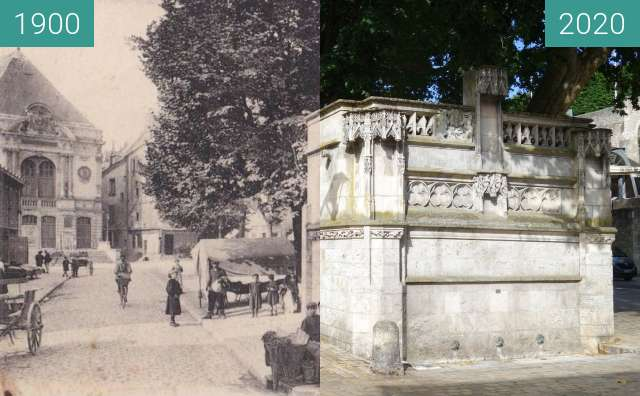 Before-and-after picture of Fontaine Louis XII between 1900 and 06/2020