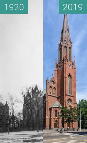 Before-and-after picture of Ulica Fredry, kościół Św. Pawła between 1920 and 2019