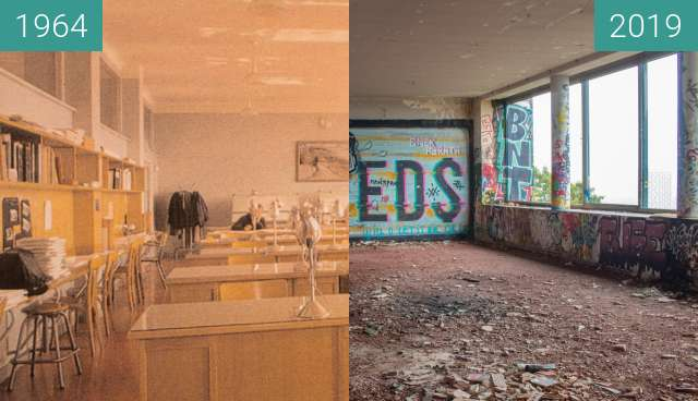 Before-and-after picture of Institut Dolomieu - Salle Daniel Dondey between 1964 and 2019-Oct-31