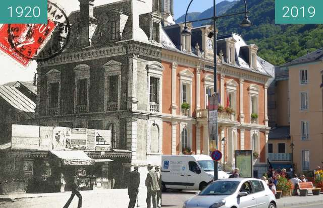 Before-and-after picture of Cauterets, Town Hall between 1920 and 2019-Aug-23