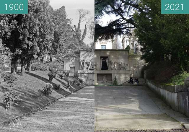 Before-and-after picture of Monument aux Morts between 1922-Oct-22 and 02/2021