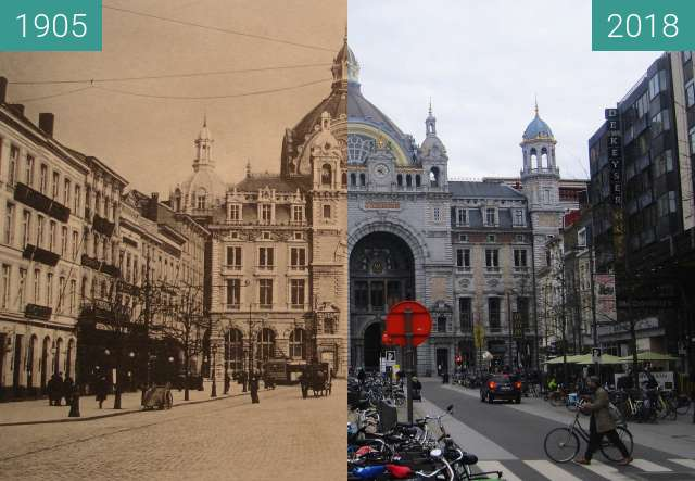 Before-and-after picture of Antwerpen railway station / De Keyserlei between 1905 and 2018-Apr-02