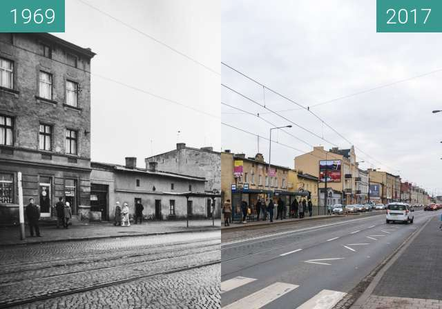 Before-and-after picture of Ulica Głogowska przy ulicy Sielskiej between 1969 and 2017-Nov-18