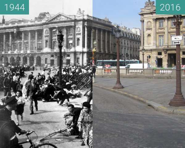 Before-and-after picture of Place de la Concorde (Liberation of Paris) between 1944-Aug-29 and 2016-Feb-27