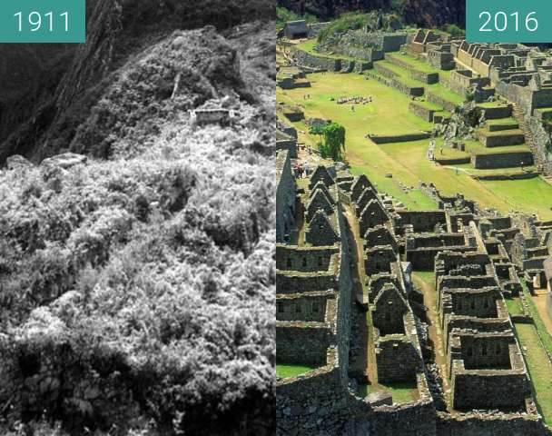 Before-and-after picture of Machu Picchu between 1911 and 2016