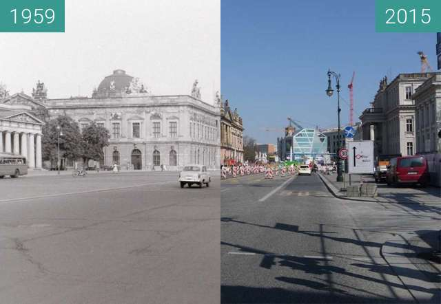 Before-and-after picture of Berlin - Unter den Linden 1959/2015 between 1959 and 04/2015