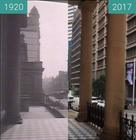 Before-and-after picture of St James Church, Sydney between 1920 and 2017