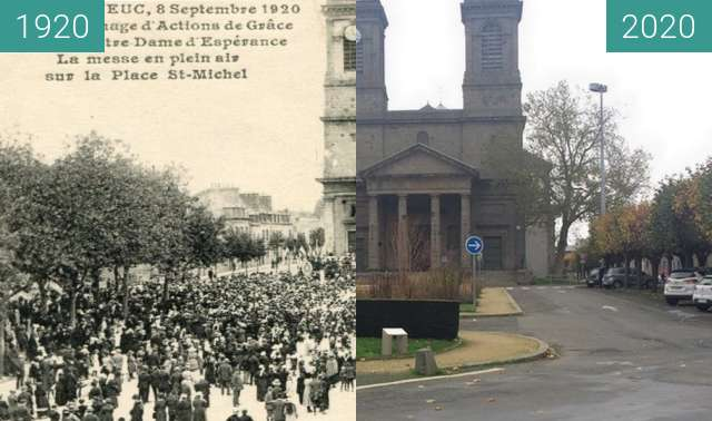 Before-and-after picture of Saint-Brieuc - Eglise Saint-Michel between 1920-Sep-08 and 2020-Nov-14