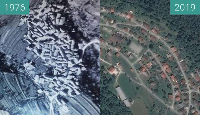 Before-and-after picture of Breginj 1976 in 2019 between 1976 and 2019