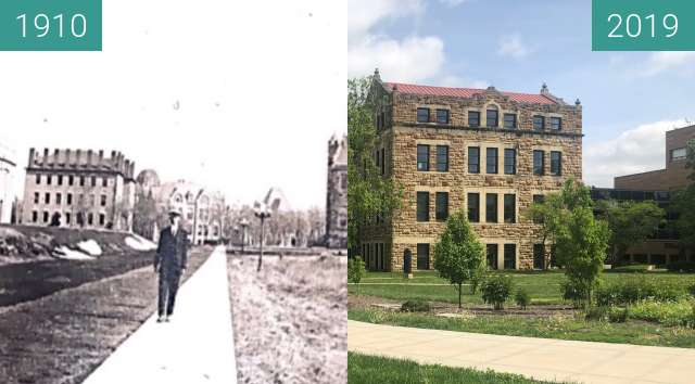 Before-and-after picture of Jayhawk Blvd. between 1910 and 2019-May-02
