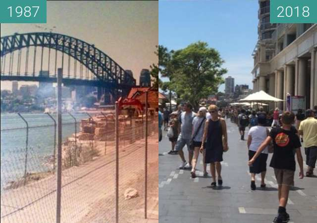 Before-and-after picture of East Circular Quay between 1987 and 2018-Jan-21