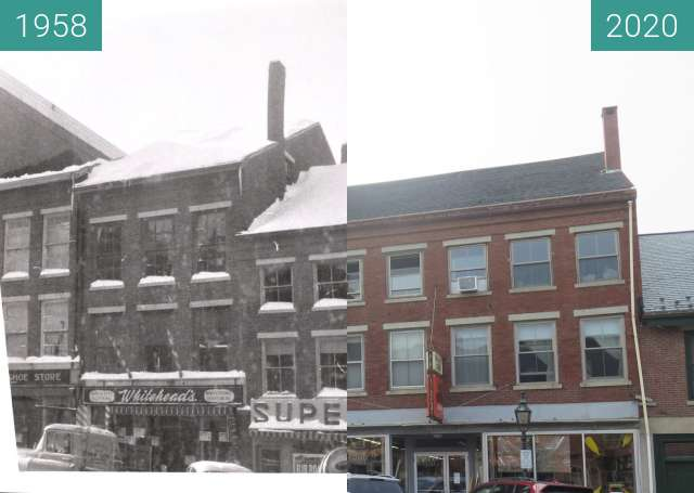 Before-and-after picture of Main Street February 17, 1958 between 1958-Feb-17 and 2020-Sep-15