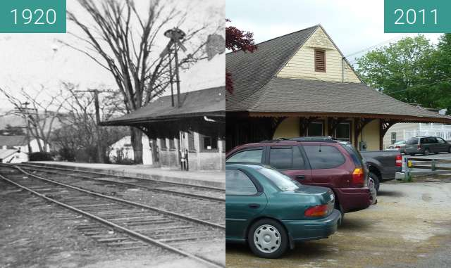 Before-and-after picture of Lakeville, Connecticut Railroad Depot between 1920 and 2011-May-19
