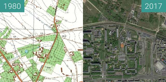 Before-and-after picture of Poznań 1980 - Piątkowo between 1980 and 2017-May-12