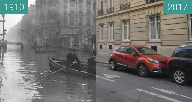 Before-and-after picture of Rue de l'Université (Great Flood 1910) between 1910-Jan-31 and 2017-Dec-09